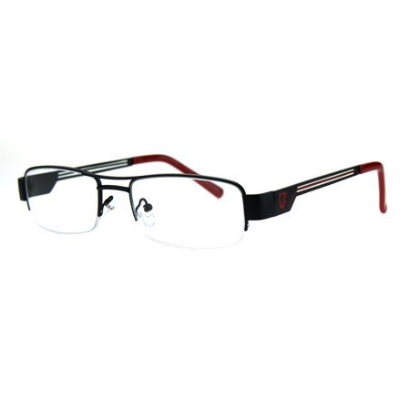 Mens Lion Shield Rectangular Metal Half Rim Clear Lens Eye Glasses Black (Half Lens Glasses)