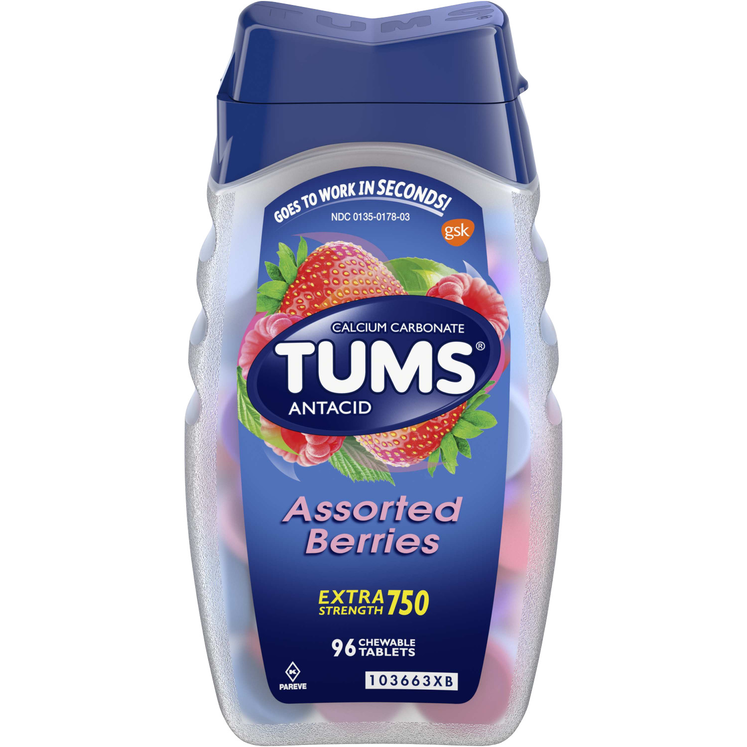 TUMS Antacid Chewable Tablets for Heartburn Relief, Extra Strength, Assorted Berries, 96 Tablets