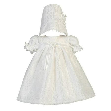 Christening Dress Set (Baby Girls White Lace Tulle Melissa Christening Hat Dress Set)