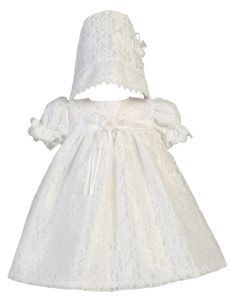 Baby Girls White Lace Tulle Melissa Christening Hat Dress Set 0-18M