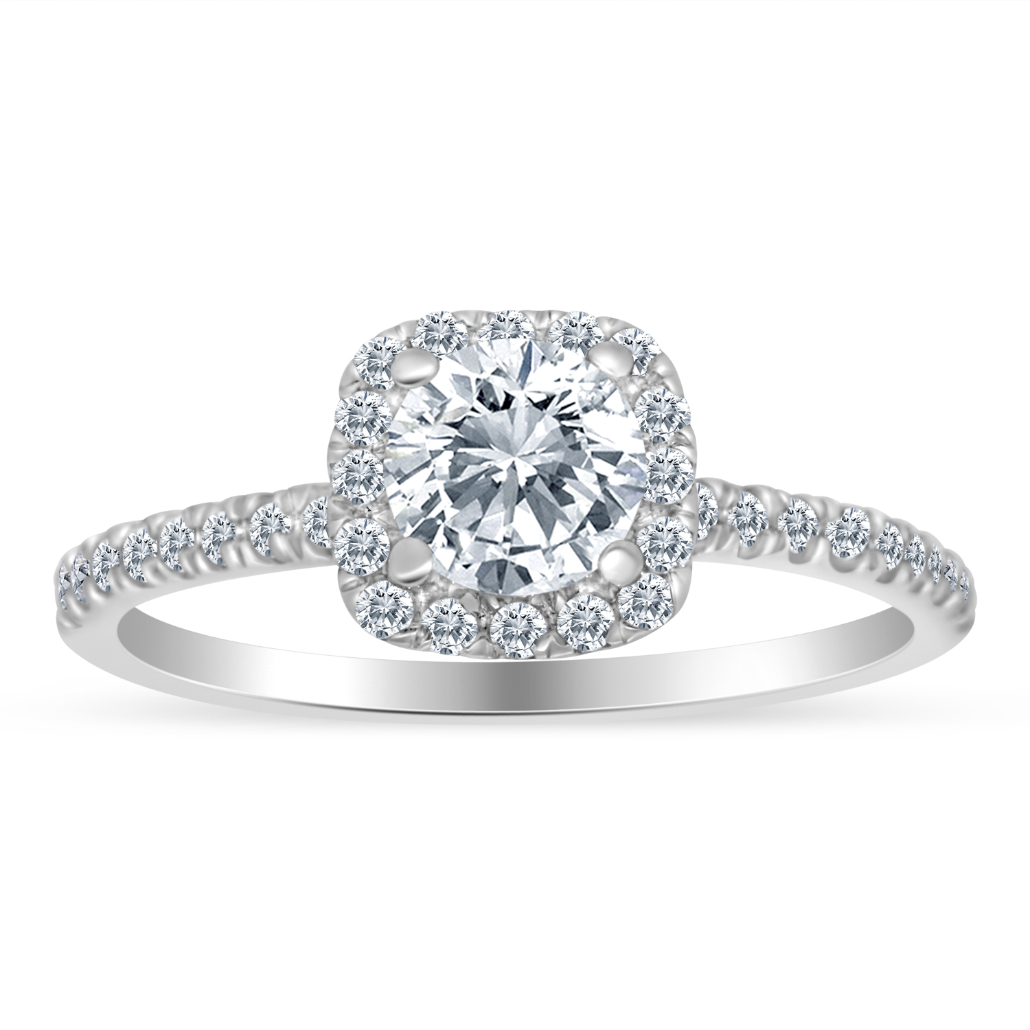 3 4ctw Diamond Halo Engagement Ring in 10k White Gold by Sk Jewel,Inc