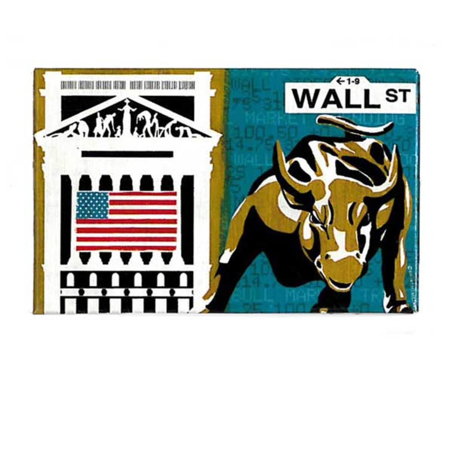 Club Pack Of 12 New York Wall Street Magnets