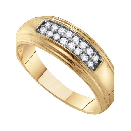 10kt Yellow Gold Mens Round Diamond Double Row Wedding Band Ring 1/4 Cttw - image 1 of 1