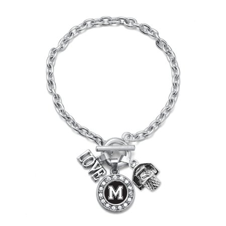 My Sports Initial Circle Charm Basketball Toggle Bracelet- Letter M Crown Charm Toggle Bracelet