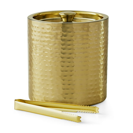 Mainstays 3 Quart Stainless Steel Ice Bucket, Hammered Brass