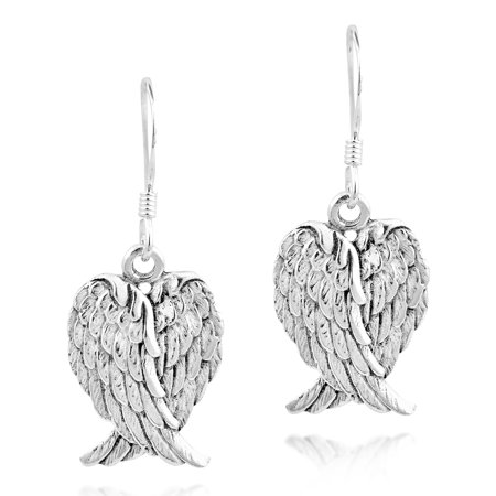Heavenly Love Heart Shaped Angel Wings .925 Sterling Silver Dangle Earrings - Angel Wings Earrings