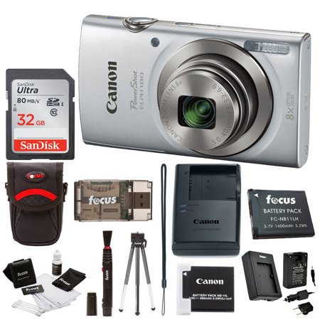 Canon PowerShot ELPH 180 Camera (Silver) + 32GB SD Card + Battery & Charger + Accessory Bundle