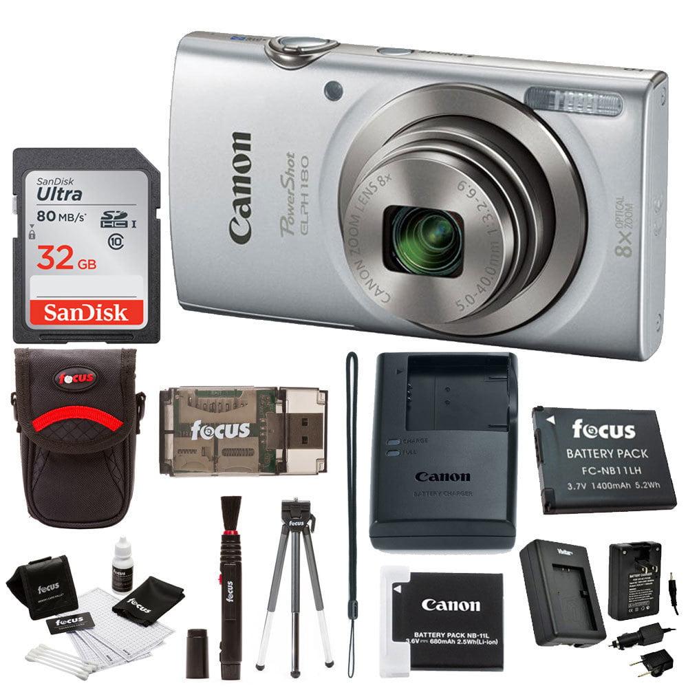 Canon PowerShot ELPH 180 Digital Camera (Silver) with 32GB Accessory Bundle