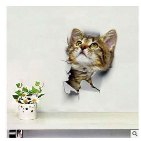 StMelody 3D Broken Cute Cat Wall Sticker Bedroom Home Floor Wall PVC Art Decals Stickers Halloween Decorations for Kids Rooms Nursery Children Party (100 Floors 15 Halloween)
