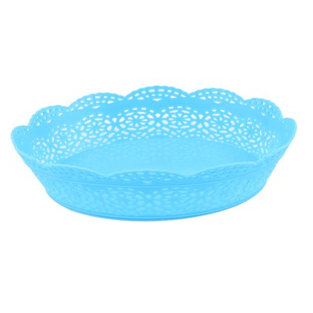 Blue Plastic Oval Shaped Flower Edge Decor Fruit Storage Holder Basket Organizer ()