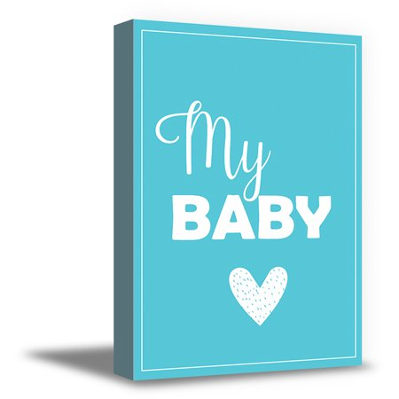Awkward Styles My Baby Canvas Wall Art Kids Room Wall Decor Blue Poster Baby Room Decor Gifts for Kids Baby Boys Room Ready to Hang Picture Newborn Baby Room Canvas Wall Decor Mother Quotes Canvas Art
