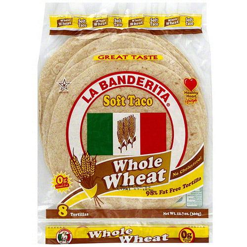 La Banderita Whole Wheat Soft Taco Tortillas, 12.7 oz (Pack of 12)