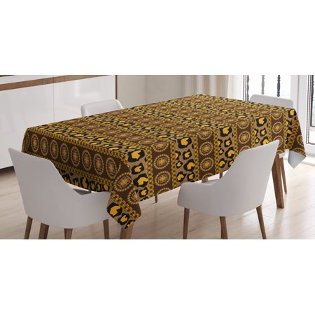 African Tablecloth, Ethnic Traditional Artistic Ornament Striped Pattern Leopard Skin Artwork, Rectangular Table Cover for Dining Room Kitchen, 52 X 70 Inches, Umber Brown Marigold, by Ambesonne