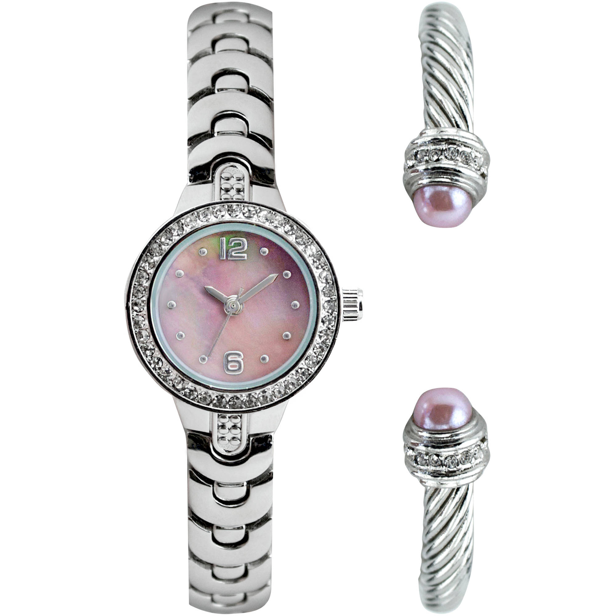 Women's Silver-Tone with Pink MOP Dial Watch Set with Bangle Bracelet