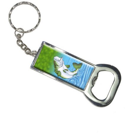 bass fish fishing jumping out of water keychain bottle bottlecap opener. Black Bedroom Furniture Sets. Home Design Ideas