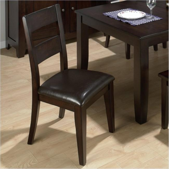 Conventional Height 1 Rung Ladderback Side Chair with Hand Hewn Edges & Chestnut Pu Vinyl Seat - Set of 2
