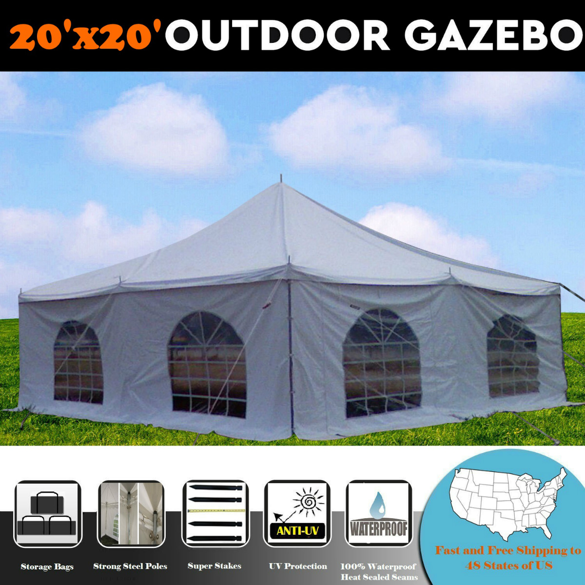 Click here to buy 20'x20' PVC Pole Tent Party Wedding Canopy Shelter White By DELTA Canopies by WPIC.