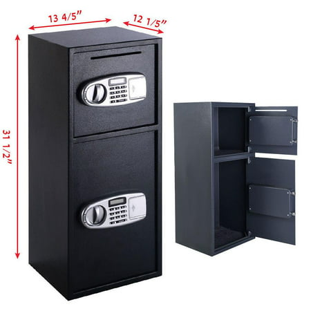 Ktaxon Twofol Door Digital Safe Depository Drop Box Safes Cash Office Security Lock (Dual Compartment Drop Safe)
