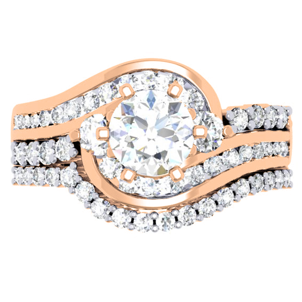 1.50 Carat (ctw) 14K Rose Gold Round Diamond 3 Stone Ladies Bridal Twisted Engagement Ring With Matching Band Set 1 1/2
