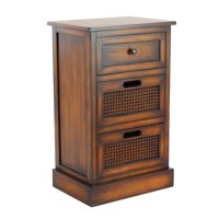 Decmode Rustic Wood 3-Drawer Side Chest, Brown