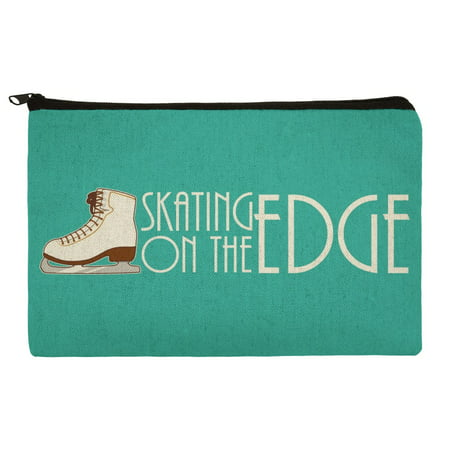 Ice Skates Figure Skating Living On The Edge Pencil Pen Organizer Zipper Pouch (Pencil Edge)