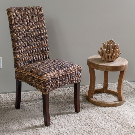 Louisa Abaca Cushioned Seat Dining Chair with Mahogany Hardwood Frame - Salak Brown ()