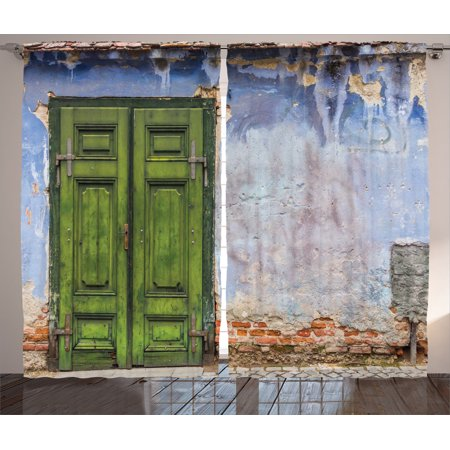 Ideas For Door Curtains (Rustic Decor Curtains 2 Panels Set, Colored House With A Pastel Weathered Rustic Door Old Days Back Then Buildings Photo, Living Room Bedroom Accessories, Gift Ideas, By)