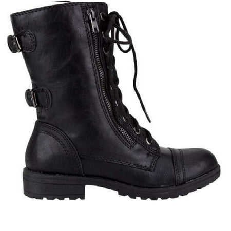 Leather Boots For Girls (Lucky Top Soda Pack72 Dome Girls Faux Leather Combat)