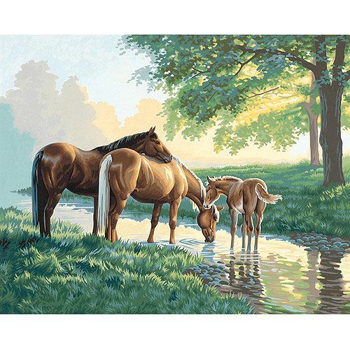 "Dimensions Paint By Number Kit, 20"" x 16"", Horses By A Stream"