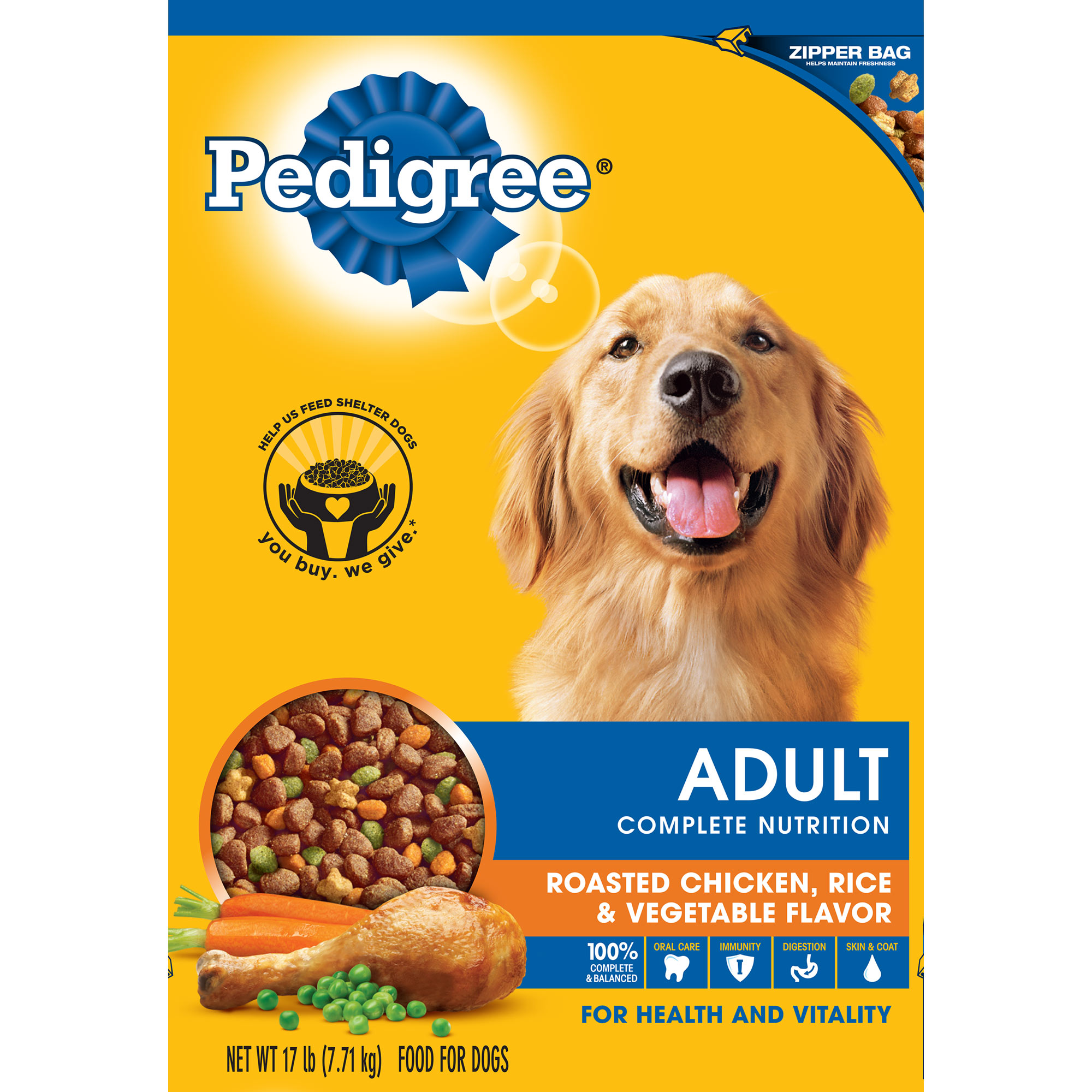 PEDIGREE Adult Roasted Chicken, Rice & Vegetable Flavor Dry Dog Food 17 Pounds