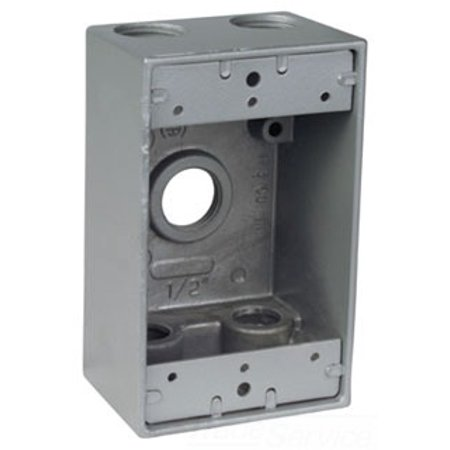 Red Dot IH5-2-LM Device Outlet Box, 1 Gang, 5 Hub, 2-13/16-Inch Width by 2-Inch Depth by 4-9/16-Inch Height, Silver Outlet Box Height