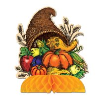 """Club Pack of 12 Fall Thanksgiving Cornucopia Table Centerpiece 9"""""""
