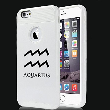 Apple Iphone 6 6S Shockproof Impact Hard Case Cover Horoscope Zodiac Birth Sign Aquarius  White  Mip