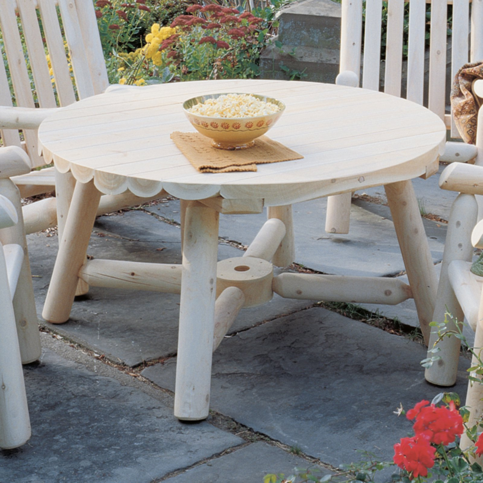Rustic Natural Cedar Furniture Harvest Family Round Table - Without Umbrella Hole