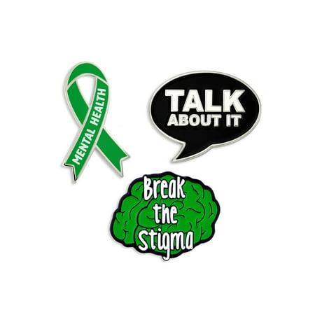 PinMart's Mental Health Green Awareness Ribbon Break The Stigma Enamel Pin Set