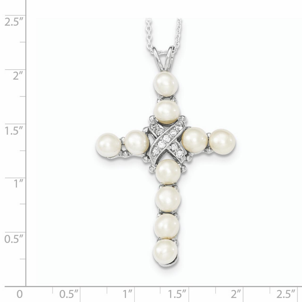 925 Sterling Silver Cubic Zirconia Cz Freshwater Cultured Pearl Cross Religious Chain Necklace Pendant Charm Fine Jewelry Gifts For Women For Her - image 1 de 3