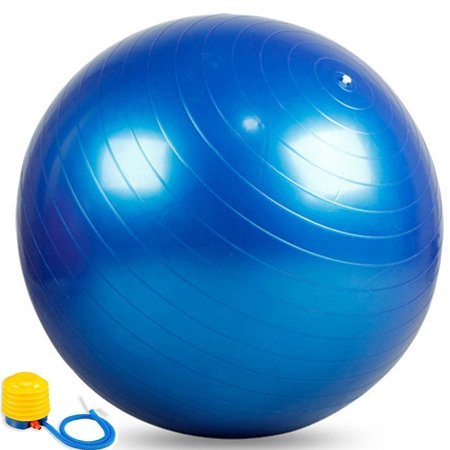 """25"""" Blue Exercise Ball Stability Ball Fitness Ball Swiss Ball Yoga Ball Balance Ball with Air Pump, Plastic By Electronix Express"""