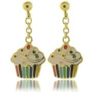 18k Gold Overlay Children's Enamel Cupcake Earrings