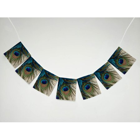 GCKG Peacock Banner Bunting Garland Flag Sign for Home Family Party - Peacock Party