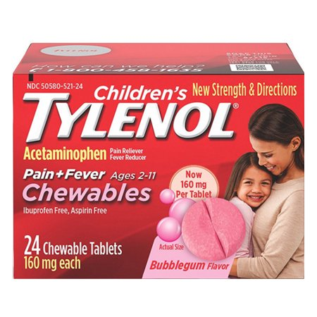 Tylenol Childrens Pain Plus Fever Reducer Chewables Tablets Bubblegum-flavored, 24