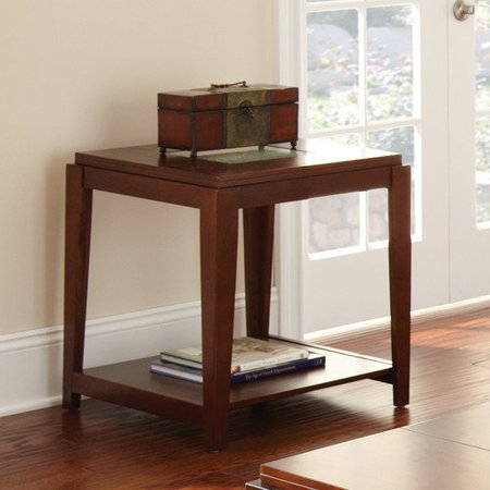 Steve Silver Ice Square Cherry Wood End Table with Cracked G