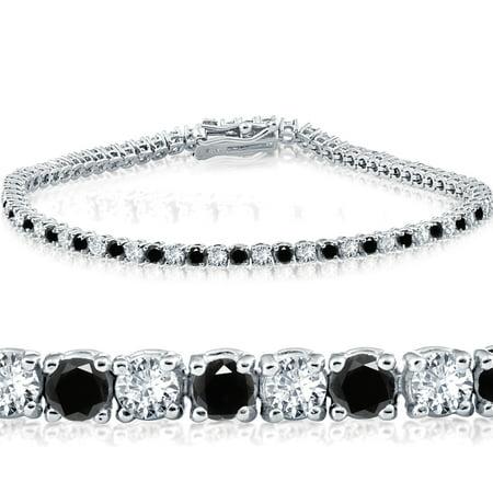 "3ct Black & White Diamond Tennis Bracelet 14K White Gold 7"" Double Lock Clasp - image 2 de 2"