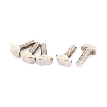 M6 Thread Metal T-Slot Drop-In Stud Sliding Screw Bolt Silver Tone 5pcs