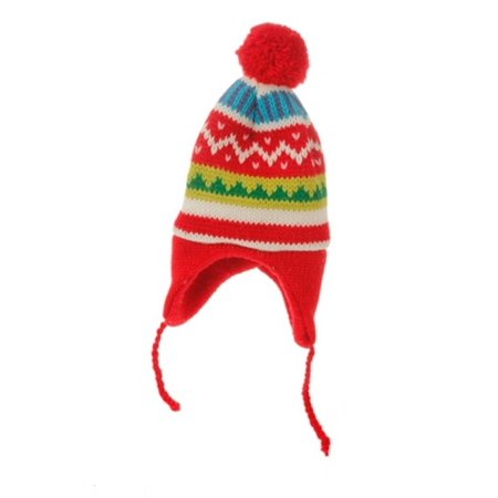 8.75 Merry & Bright Nordic Red Knit Ear Flap Winter Hat Christmas Ornament