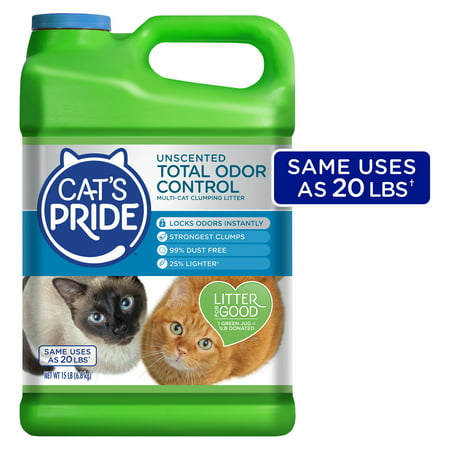 Cat's Pride Total Odor Control, Unscented Multi-Cat Clumping Litter, Odor Locking and 99% Dust Free, 15