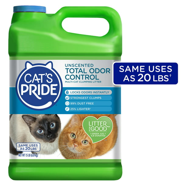 Cat's Pride Total Odor Control, Unscented Multi-Cat Clumping Litter, Odor Locking and 99% Dust Free, 15 lbs.