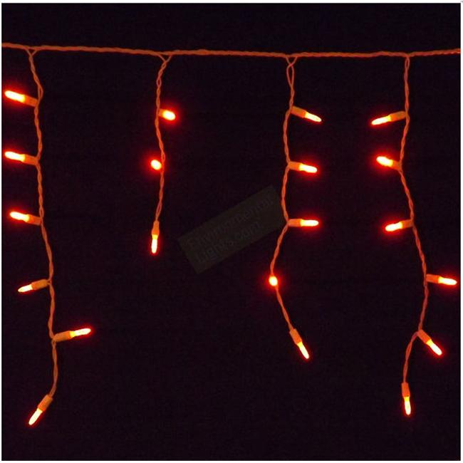 Reinders 88607-R M5mm ICICLE Holiday Creations 70 LED Christmas Light String - Orange