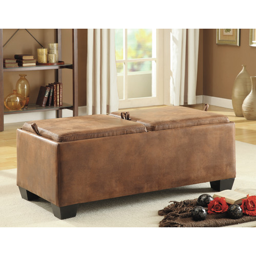Trent Home Vega Storage Bench Ottoman Table in Light Brown