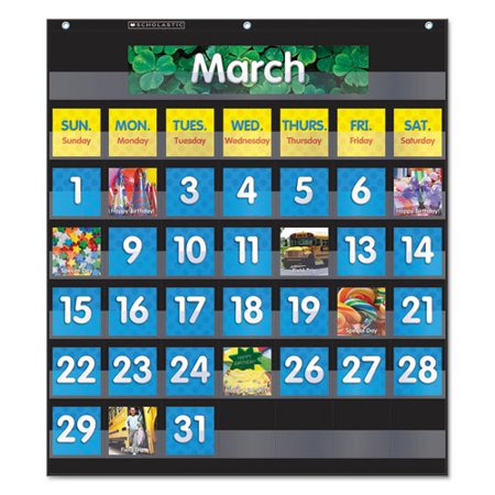 Scholastic MONTHLY CALENDAR POCKET CHART, 43 POCKETS, 25