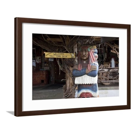 Cigar Store Indian at the Hillbilly Mall Framed Print Wall (Summit Mall Stores)